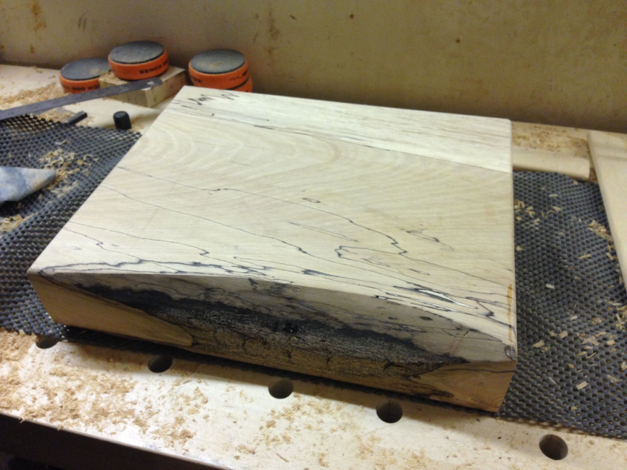 Spalted beech chopping block in the making by Gregster for www.handmadeinblighty.com