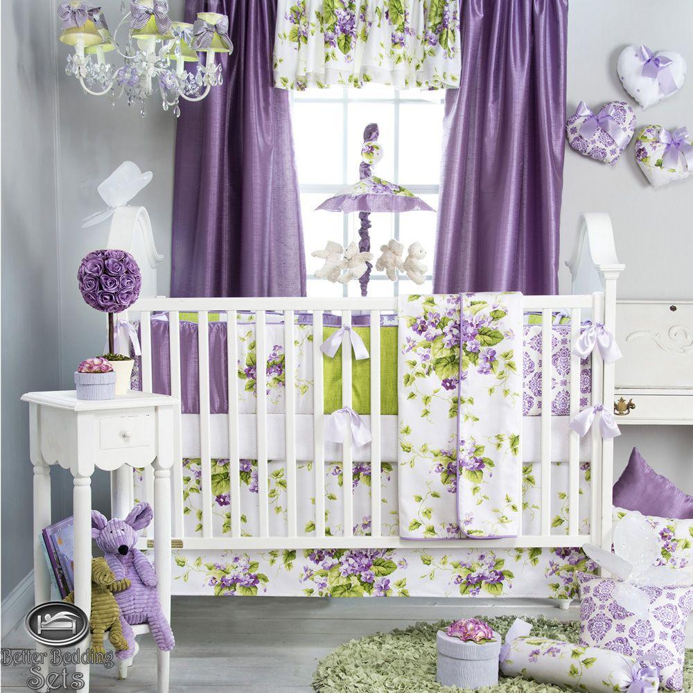 Baby Girl Purple Lavender Green Babies Quilt Crib Nursery Collection Bedding Set Ebay Girl Nursery Bedding Crib