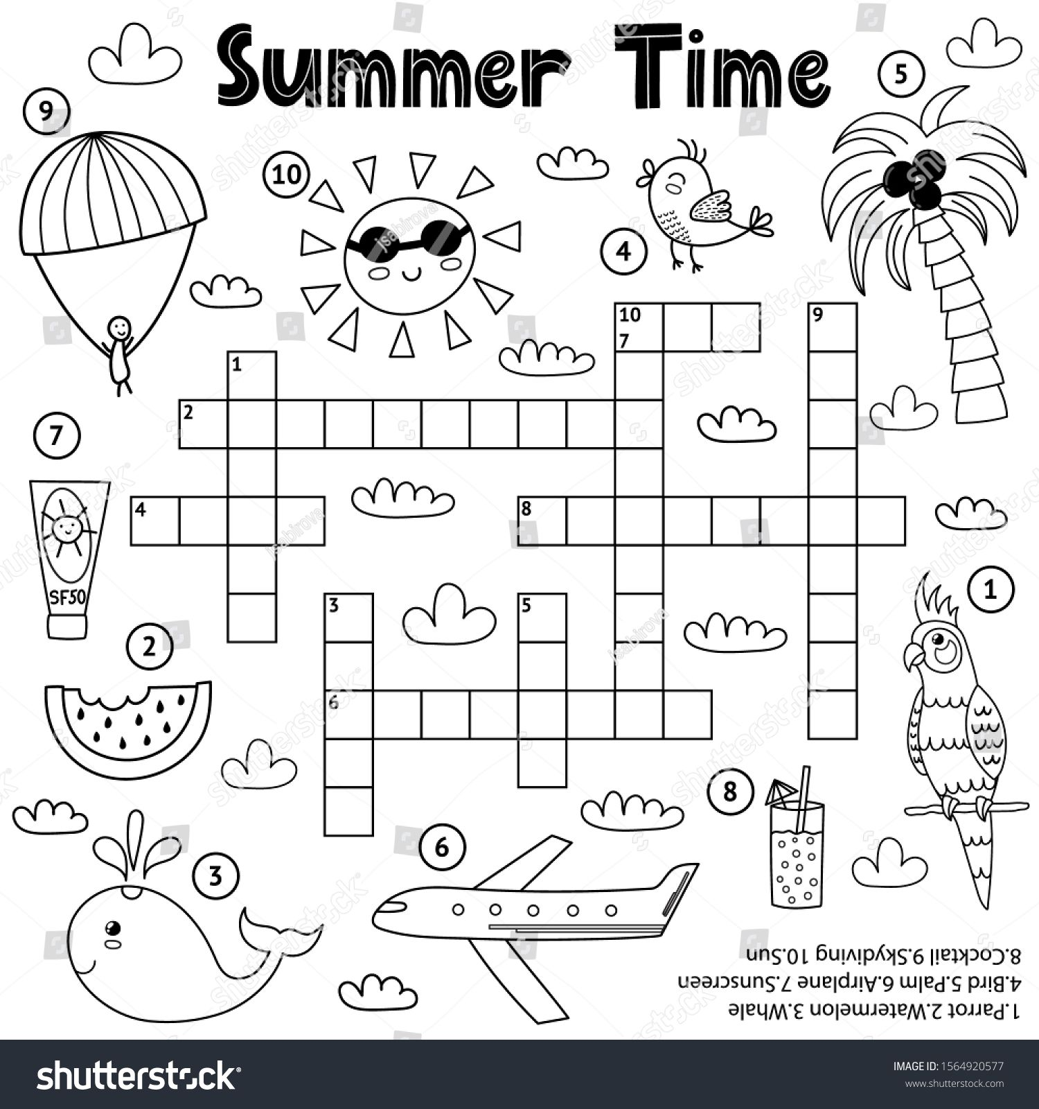 Summer Time Black And White Crossword Game Educational