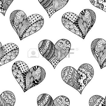 Adult Coloring Pages Hand Drawn Ornamental Heart With Love In Doodle Zentangle Tribal Style