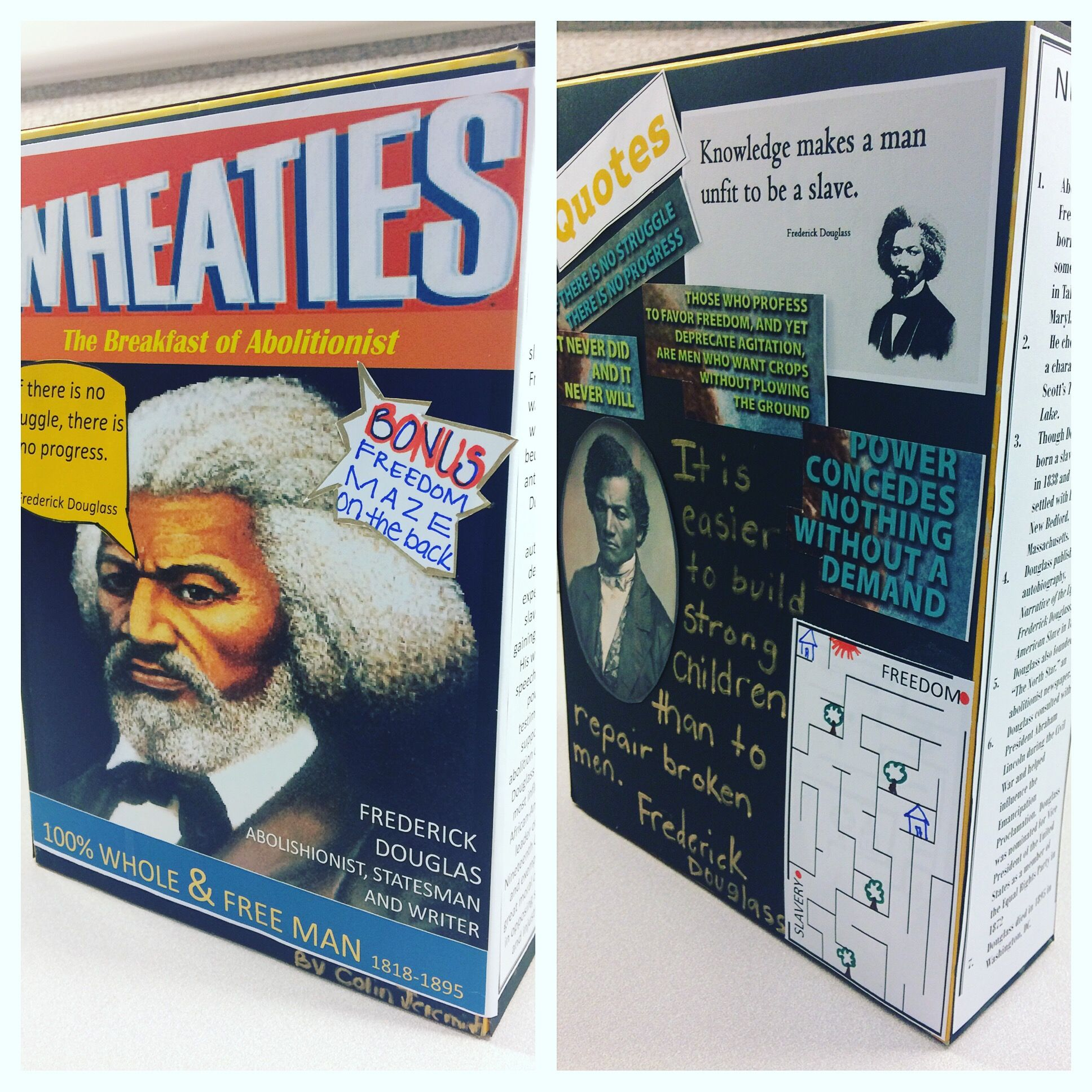 Cereal Box Biography Colin Codered Frederickdouglas
