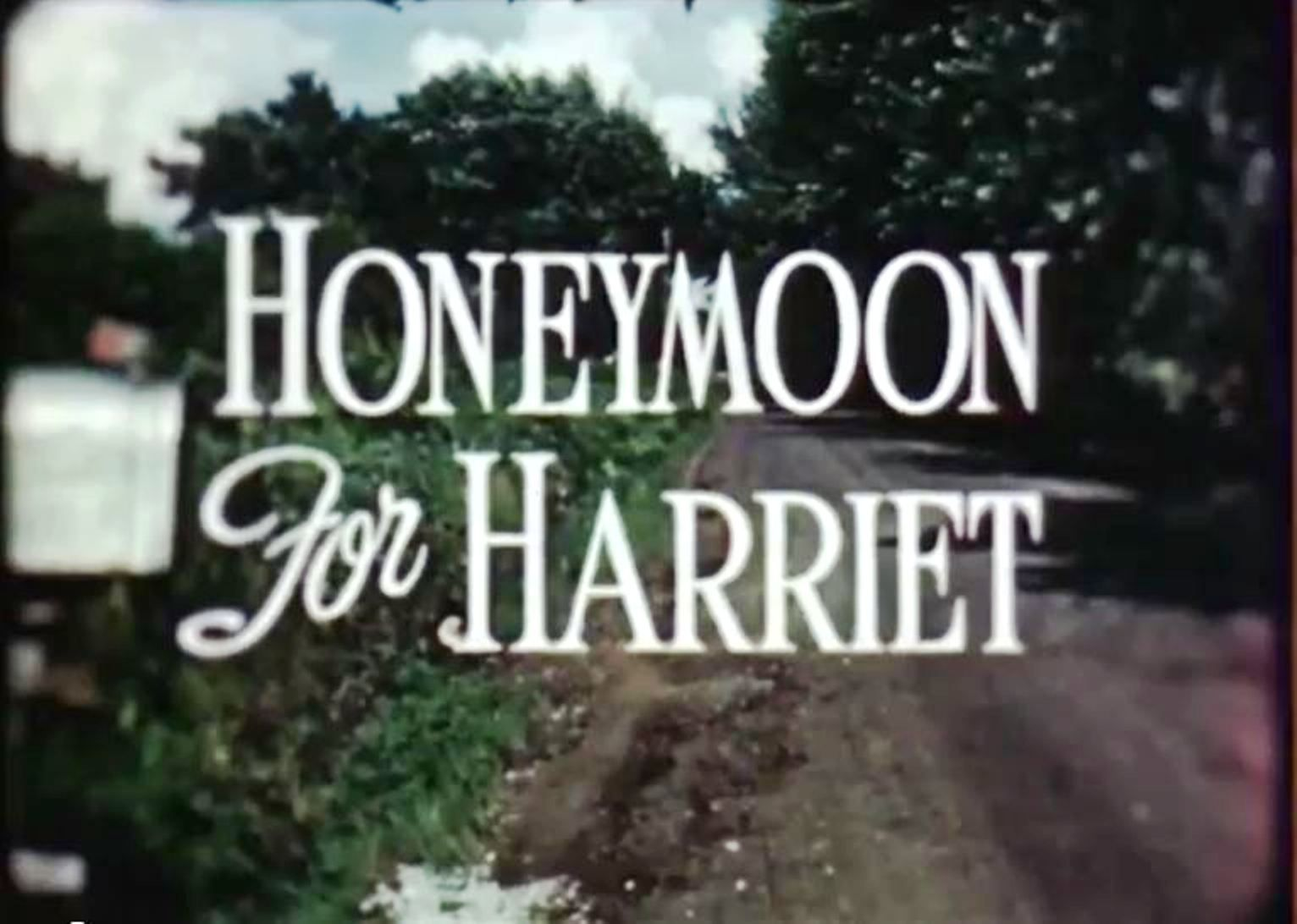 """""""Honeymoon For Harriet"""" title card, 1950.  This industrial film short was the first movie Robert Altman received credit for.  During his time with the Calvin Company, he would direct over 60 industrial films."""