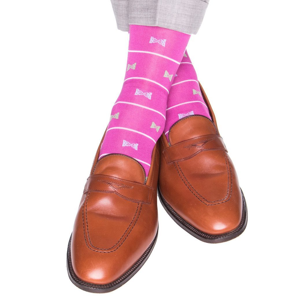 Rose with White Stripe and Sky Blue and Green Bow Ties Sock Linked Toe Mid-Calf
