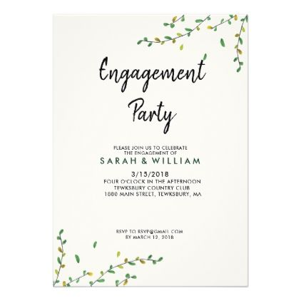 Simple Greenery Engagement Invitation Zazzle Com With Images