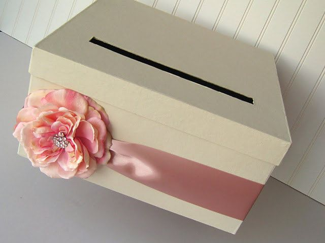 Diy Wedding Card Box Kit To Make Your Own By Lcddestash Grey Baby Blue Ribbon And A Yellow Flower Cute