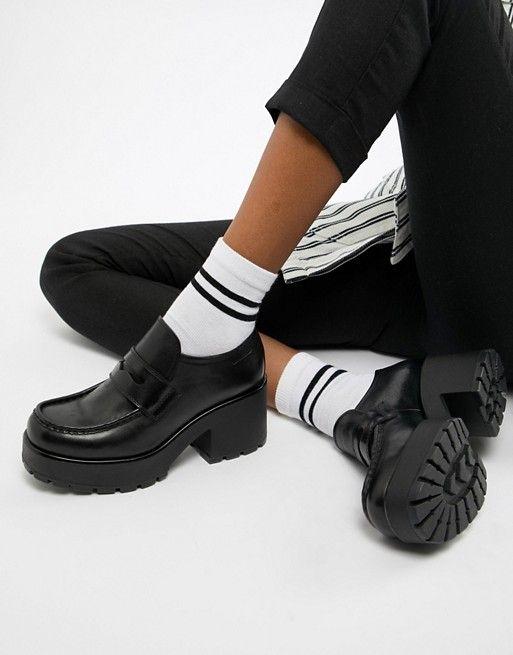 Vagabond Dioon black leather platform block heeled
