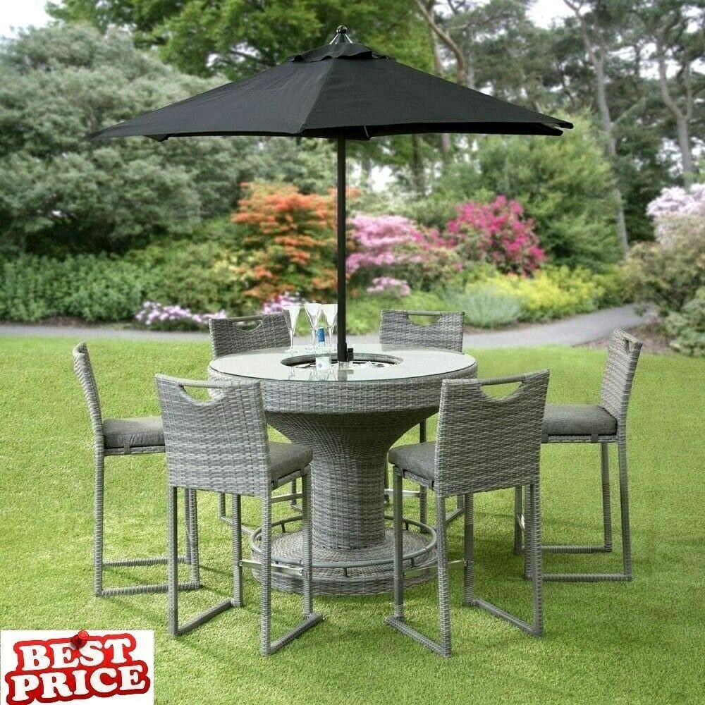 Patio Round Set Rattan Garden Table Bar Stool Chairs Ice Bucket Free Parasol 8pc Furniture Furnituredesign Furnitureideas Garden Table Patio Rustic Patio