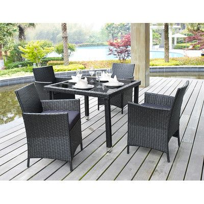Found It At Wayfair   DHI Aptos 5 Piece Outdoor Dining Set With Cushions    Finish: Black /Sand