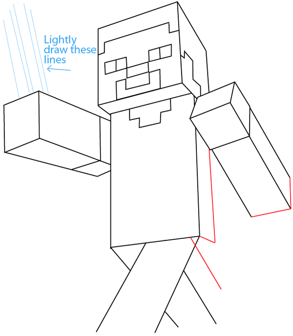 How To Draw Steve With A Pickaxe From Minecraft With Easy