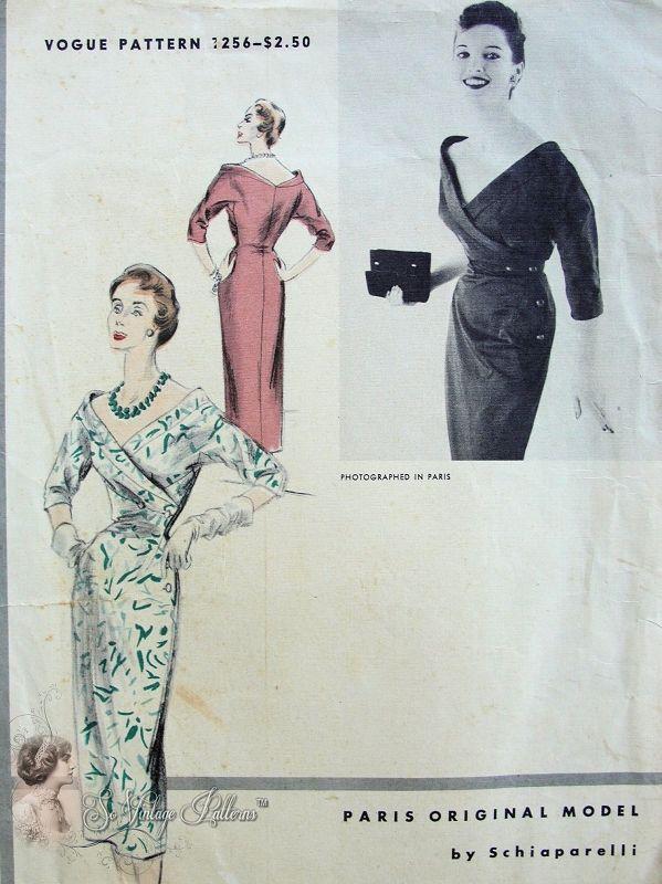 1950s RARE Schiaparelli Vogue Paris Original Model 1256 Vintage ...