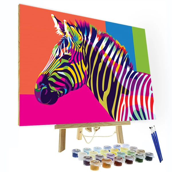 Paint By Number Kit Colorful Zebra In 2020 Paint By Number Kits Paint By Number Peacock Painting