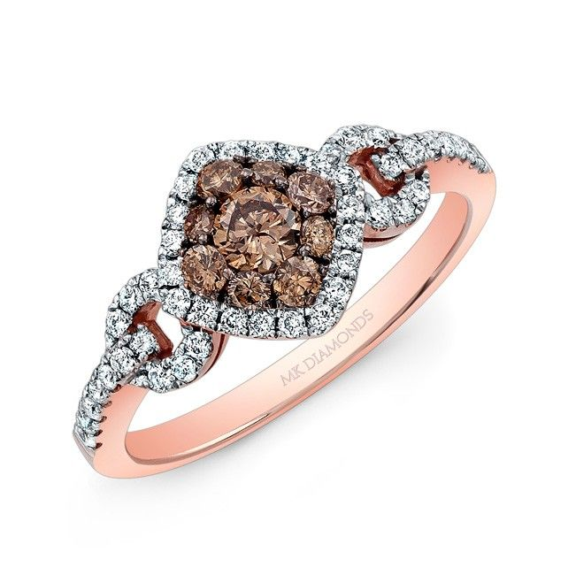 18k Rose and Black Gold White and Brown Diamond Fashion Ring  - 18k Rose and Black Gold White and Brown Diamond Fashion Ring