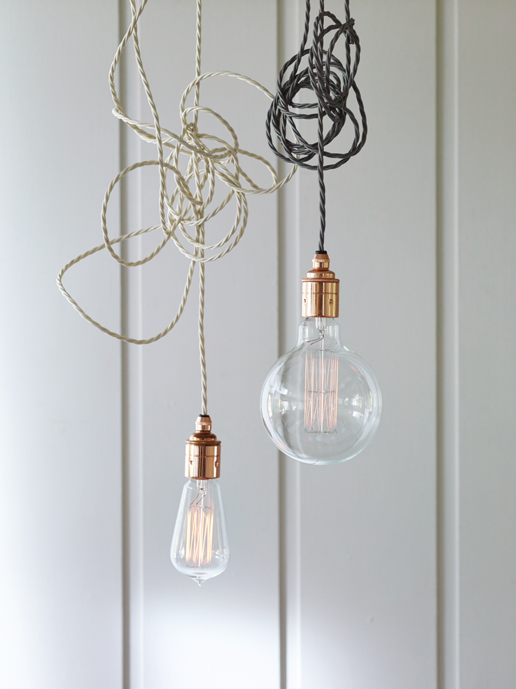 Twisted Flex Copper Pendant Light Set Slate Ceiling Lights