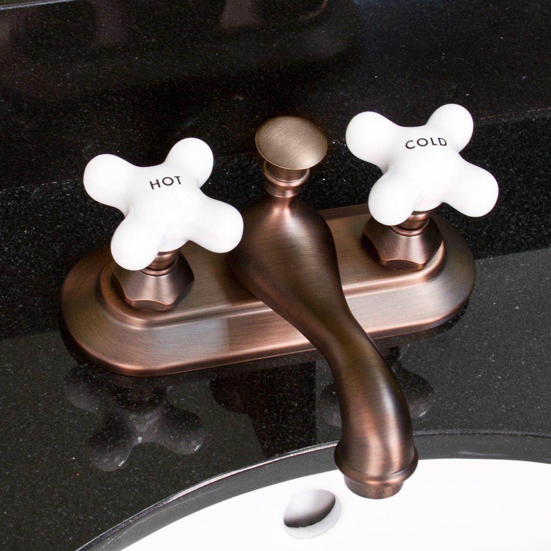 Simsbury Centerset Faucet - Porcelain Cross Handles   Faucet ...
