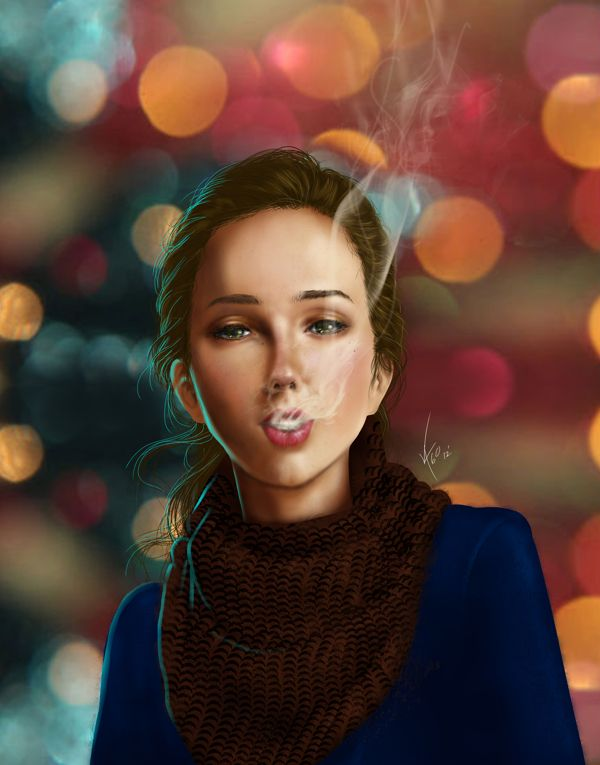 Smoking girl... by Jorge Zapata, via Behance
