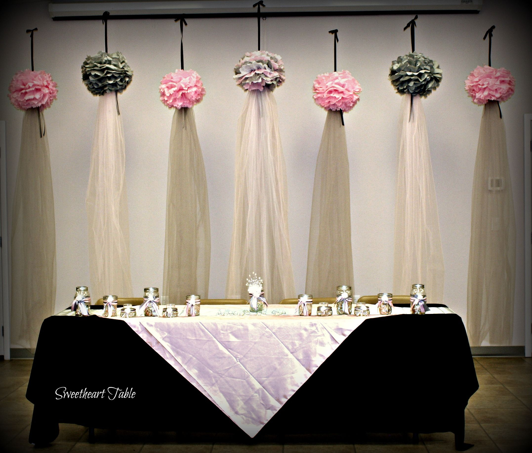Cute Wedding Ideas For Reception: Floating Pompoms With Tulle Draping Made An Unique