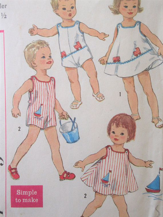 Vintage Simplicity 3497 Sewing Pattern, 1960s Toddler\'s Sunsuit ...