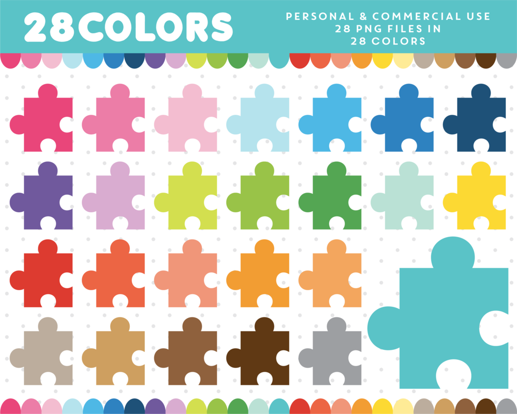 Puzzle Clipart In 28 Rainbow Colors Cl With Images
