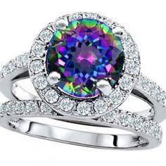 rainbow mystic topaz engagement wedding set unusual engagement rings review - Rainbow Wedding Rings