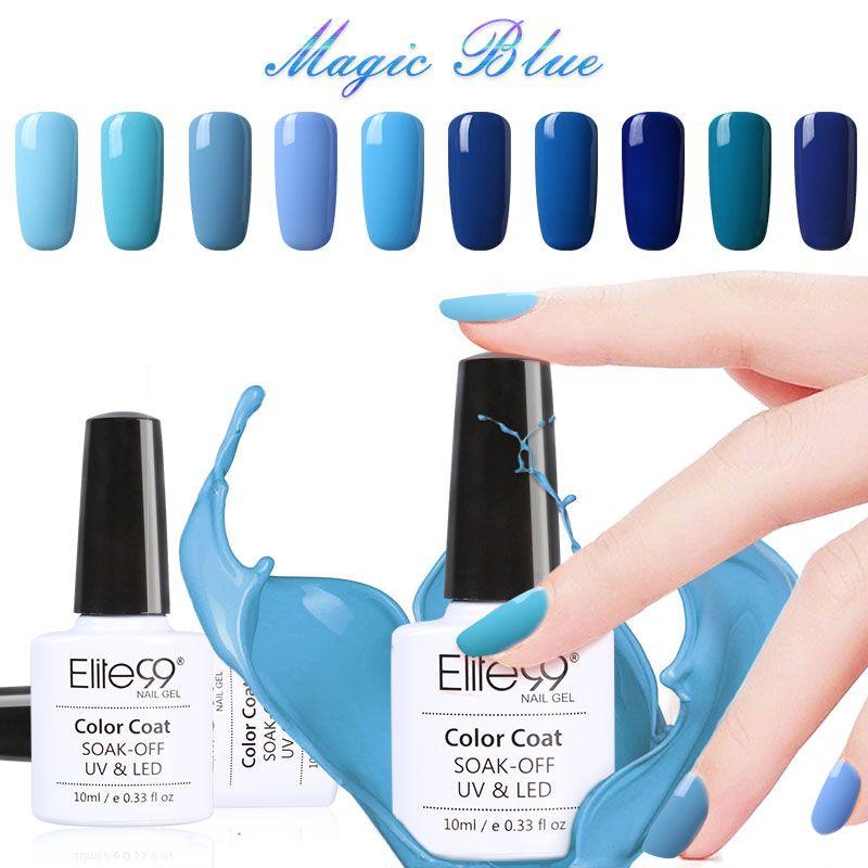 Elite99 10ml Nail Polish Lacquer UV LED Lamp Drying Magic Blue Color ...
