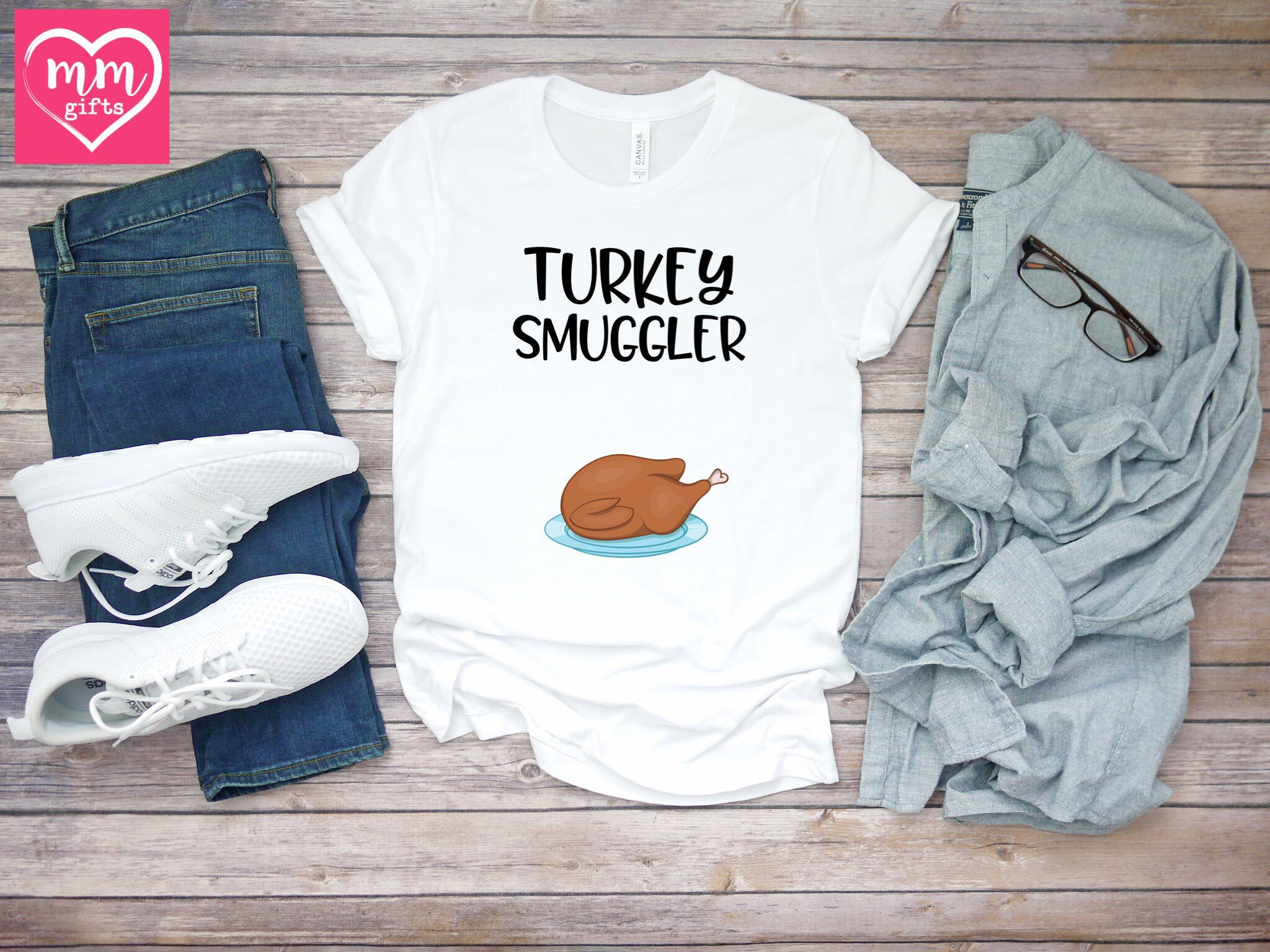 Cute Thanksgiving Pregnancy Announcement Tee, Funny Turkey Quote T-Shirt, Turkey Smuggler Short-Sleeve Unisex T-Shirt