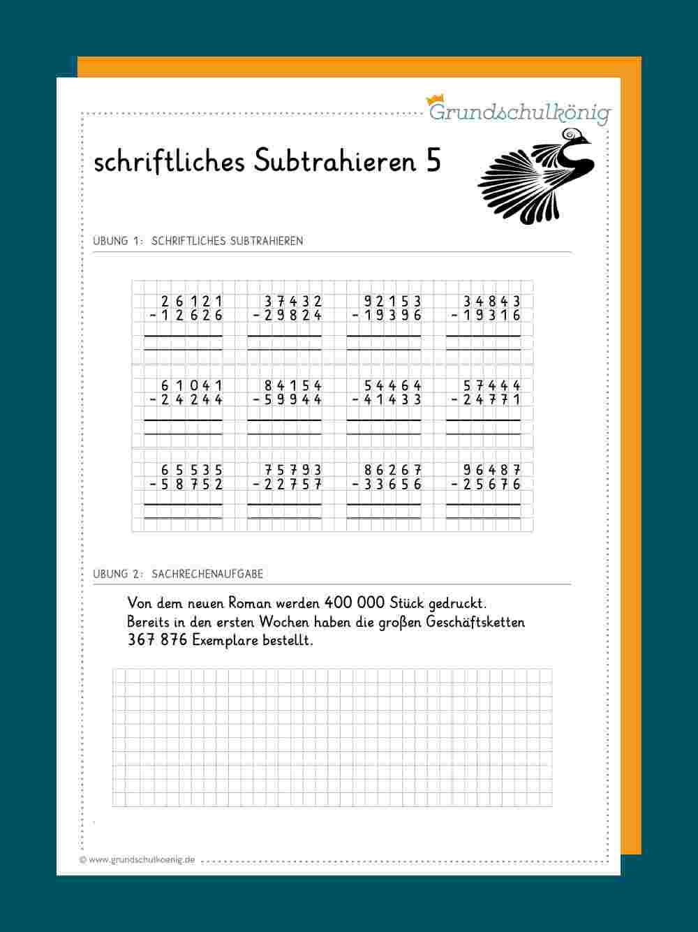 Schriftliche Subtraktion   Schriftliche subtraktion, Schriftlich ...