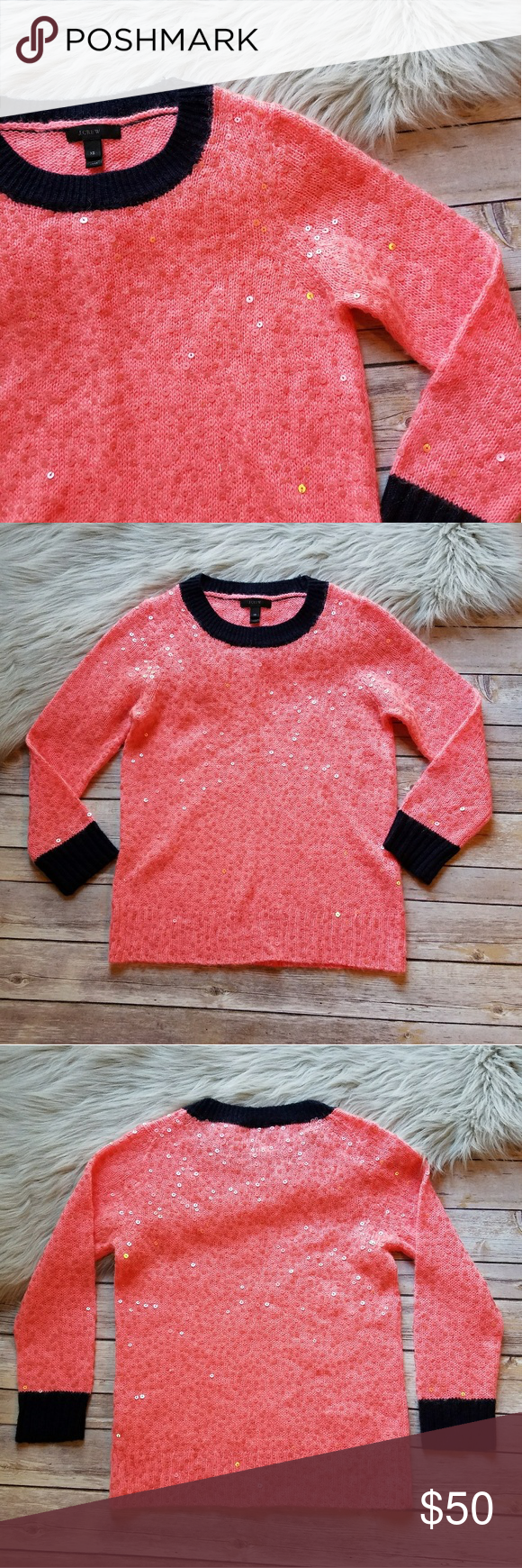 J. Crew pink peach sequin holiday sweater