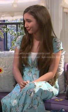 1cd890d0896 Riley s blue floral maxi dress and green vest on Girl Meets World