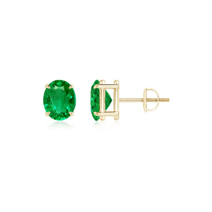 Angara Double Claw-Set Trillion Emerald Stud Earrings jnp7kbA