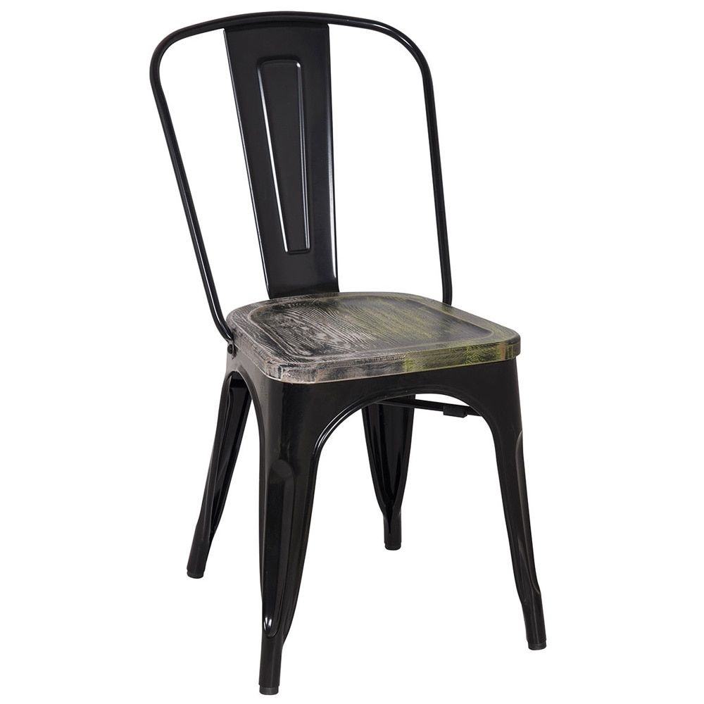 Vintage armless chairs - Black Frame Vintage Sheet Metal French Cafe And Bistro Armless Chairs Set Of 4