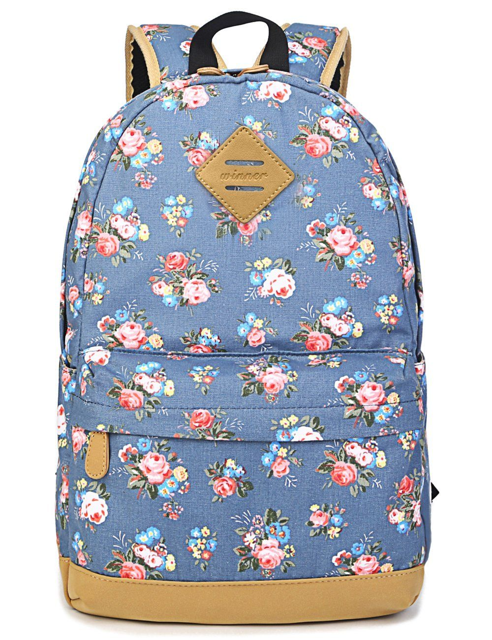 8052a033c8b5 ... Canvas Laptop Backpack Cute Travel School College Shoulder Bag Bookbags Daypack  for Teenage Girls Students Women-With Laptop Compartment Black  Clothing