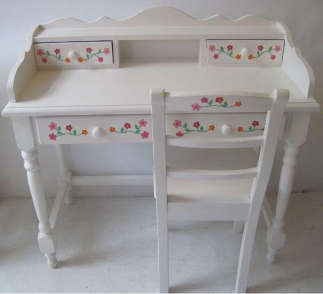 Kinderbureau met stoel handgeschilderd kinderbureau kindermeubelen kinderkamers kamer mayah - Roze meid slaapkamer ...