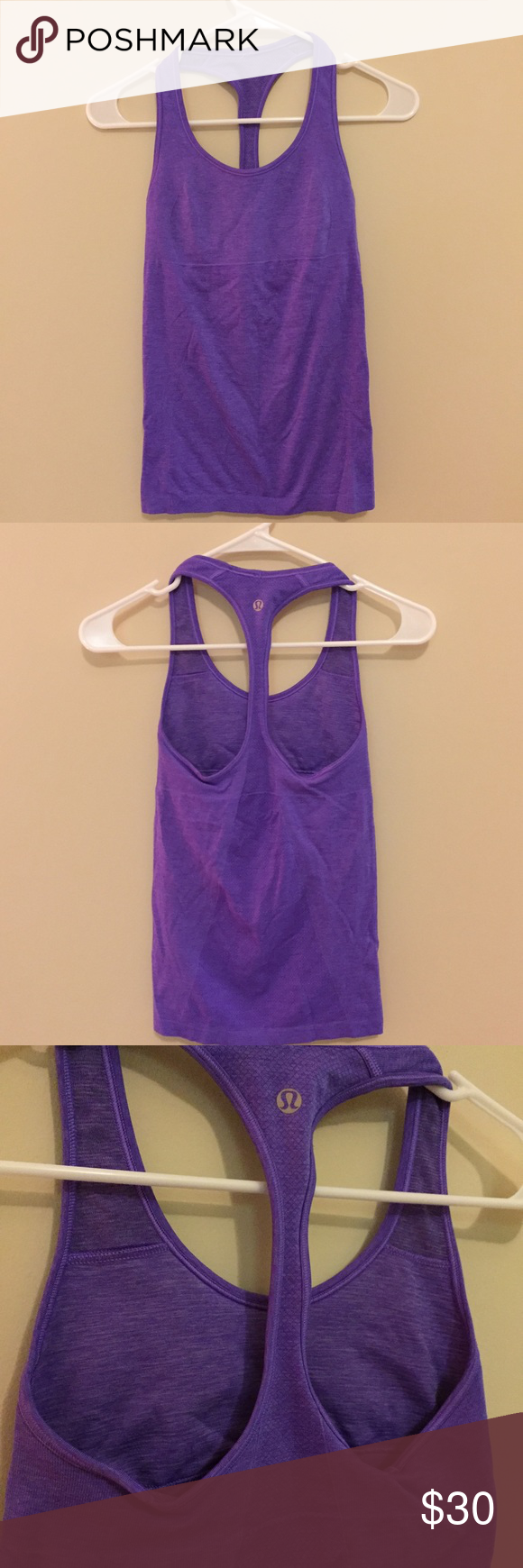 Lululemon Ebb & Flow Racerback I'm pretty sure this is the Ebb & Flow Racerback Tank. I know it's a size 4. In great condition since it is too tight for me to wear. Love the seamless feel and shelf bra. Purple is gorgeous with silverescent touch 💜 Never put in the dryer. Non-smoker. No trades. (I also have this in black!) lululemon athletica Tops Tank Tops