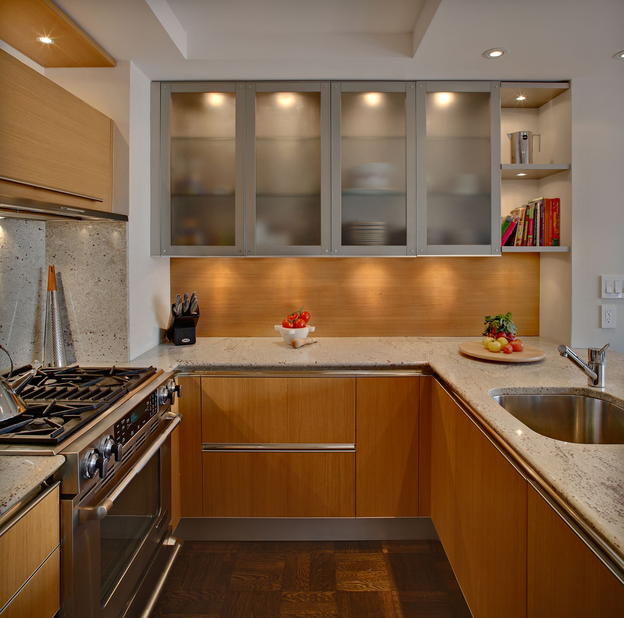Custom Kitchen Design Modern Natural Oak Cabinetry With 48 Meila Range And High Gloss White Lacqu Glass Kitchen Cabinets Kitchen Design Small Kitchen Design