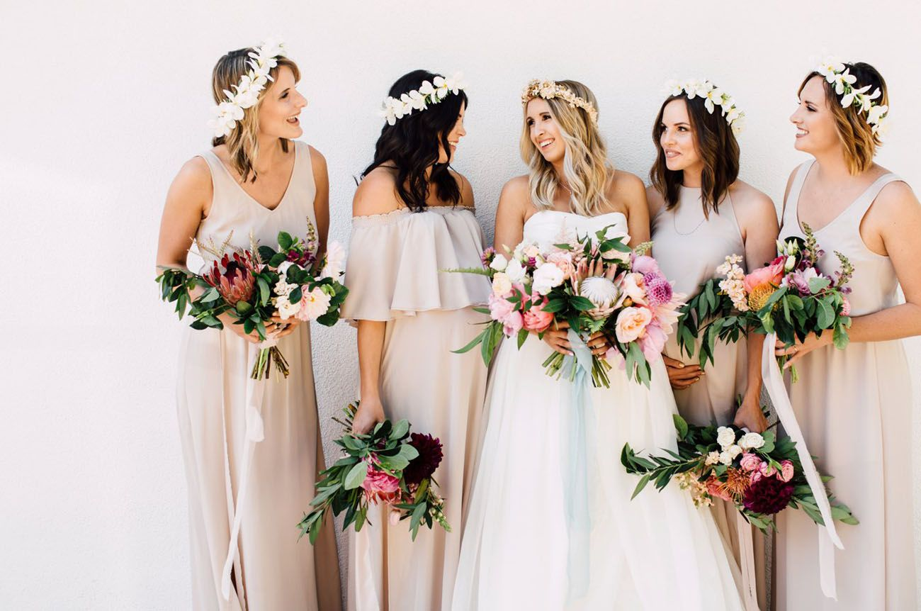 Tropical bohemian california wedding ellis elliot bohemian same color slightly different cuts bridesmaids dresses ombrellifo Gallery
