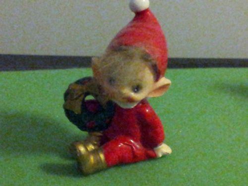 Vintage Josef Christmas Elf Pixie Figurine with Wreath | eBay