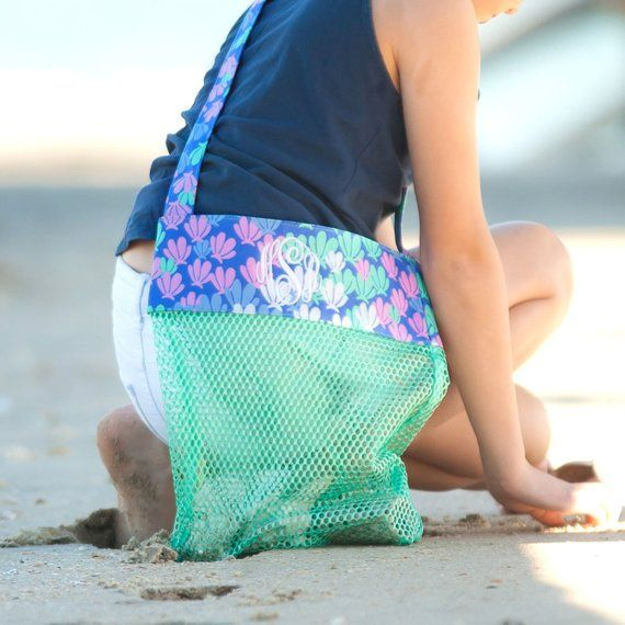 46dab0aa9c22 Are you planning a beach vacation with your kids  These personalized mesh  bags are perfect for keeping sea shells and other treasures in!
