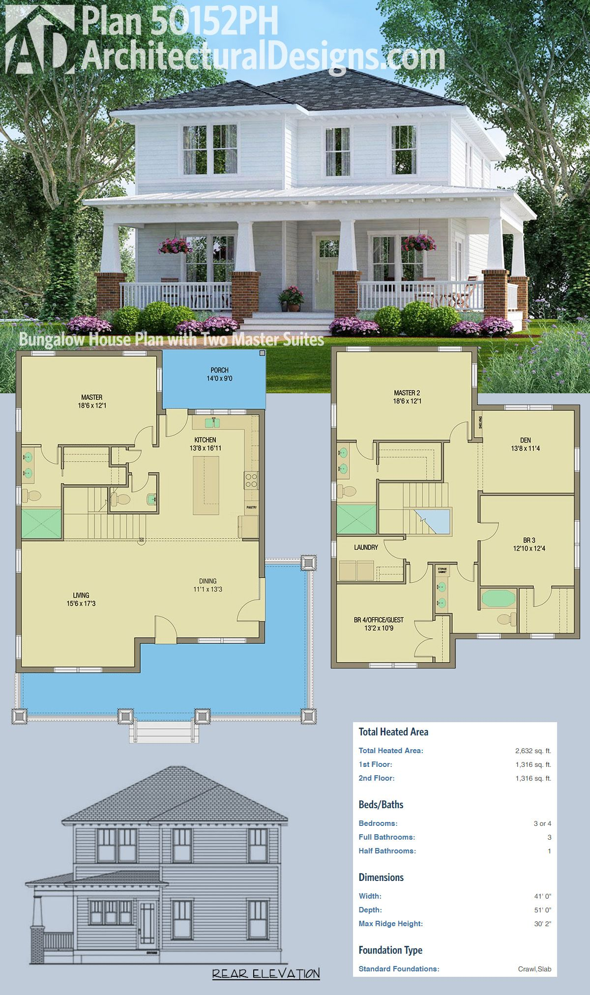 Architectural Designs House Plan 50152PH gives you a wraparound     Architectural Designs House Plan 50152PH gives you a wraparound porch  two  master suites and over 2 600 square feet of heated living space