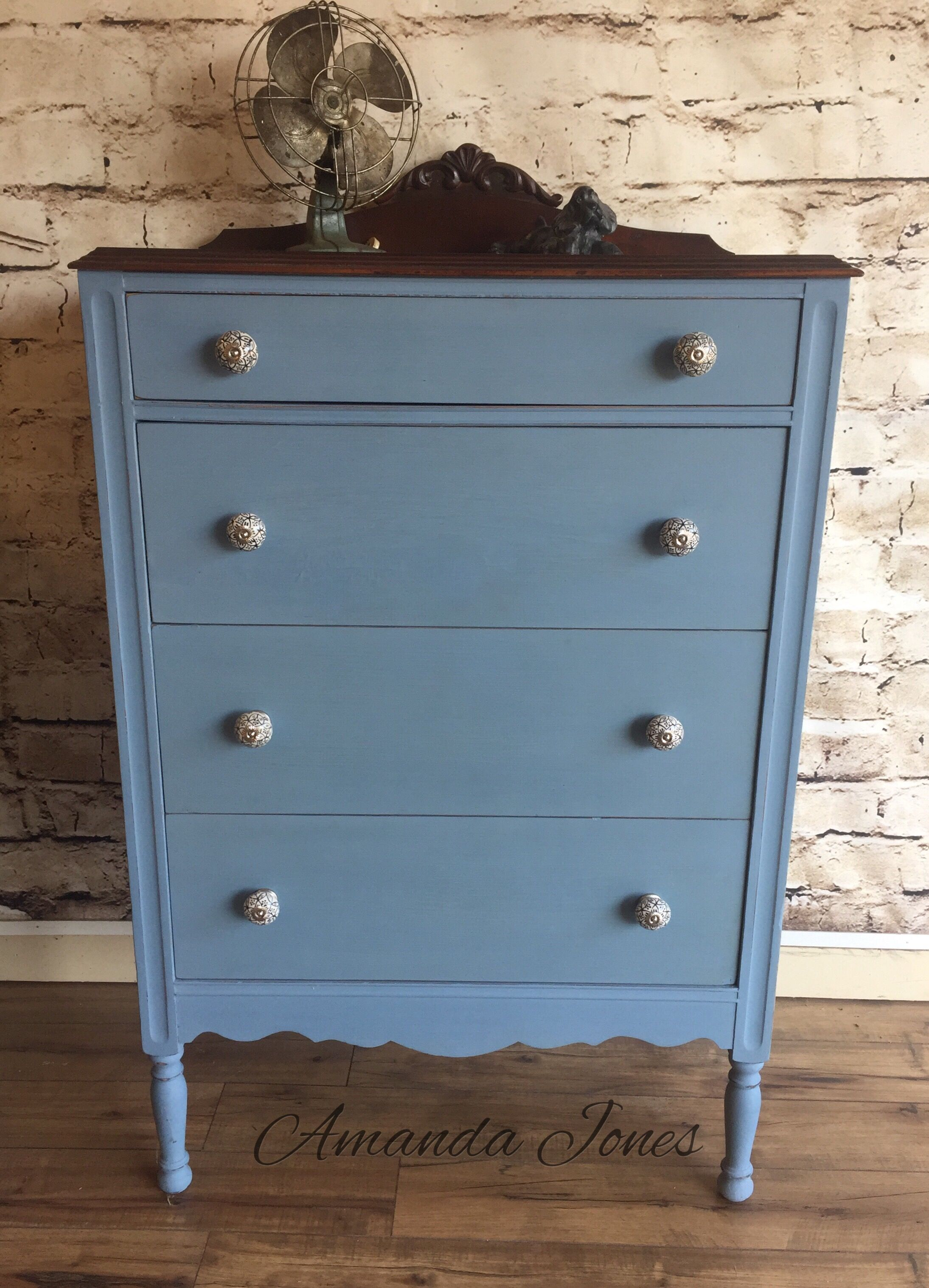 Custom Mix Of Paris Grey And Napoleonic Blue Chalk Paint