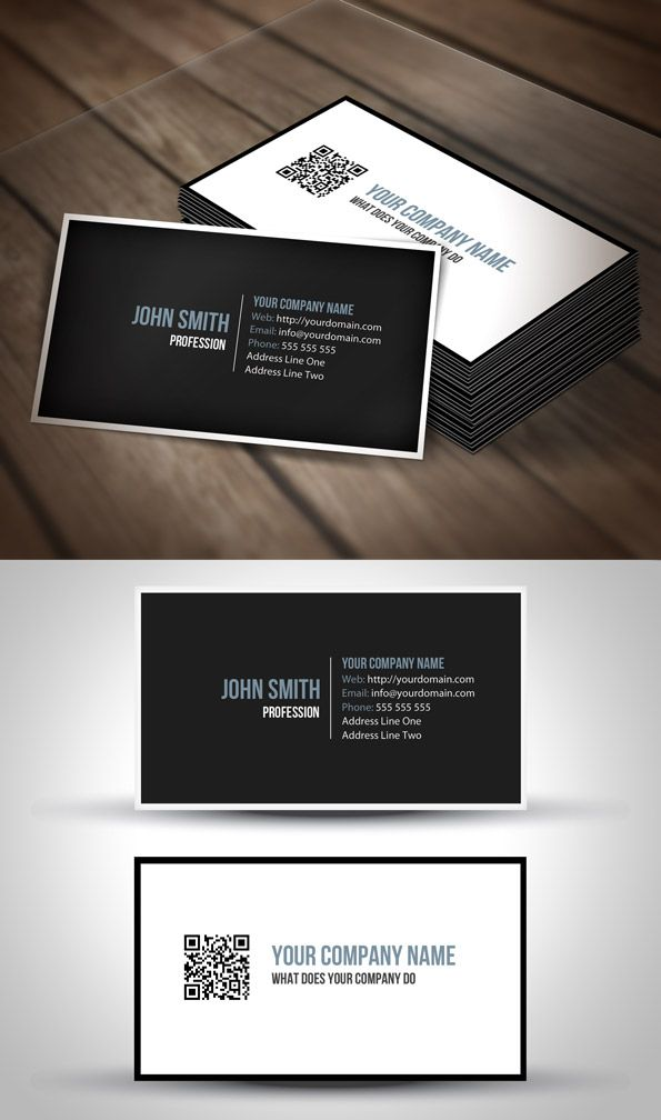 Elegant Black & White QR Code Business Card Template | Business ...