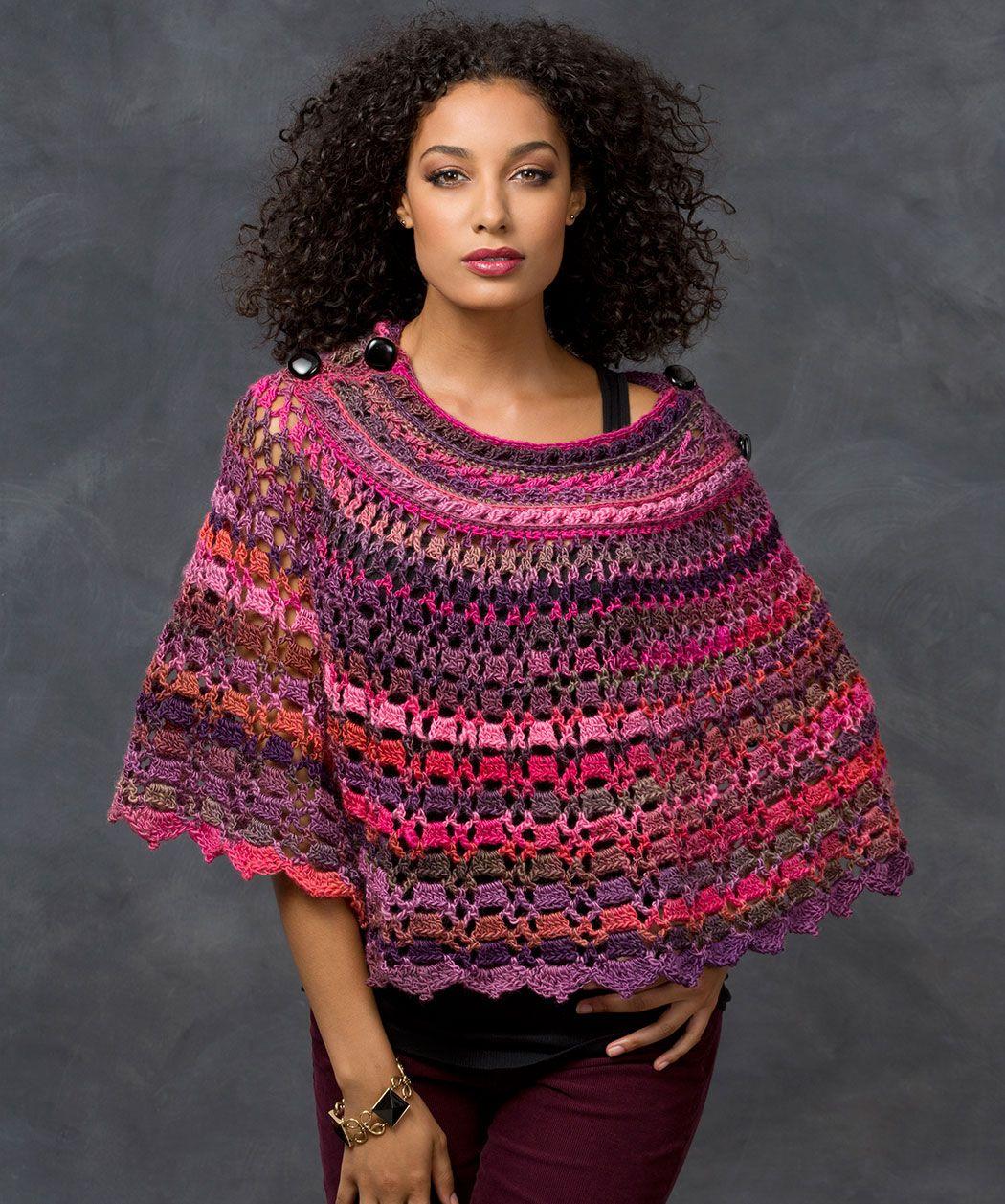 Dubonnet Poncho Crochet Pattern #crochet #redheartyarns | New, New ...