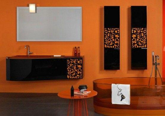 28 idées de salle de bains orange | Idées Déco Salle de Bain ...
