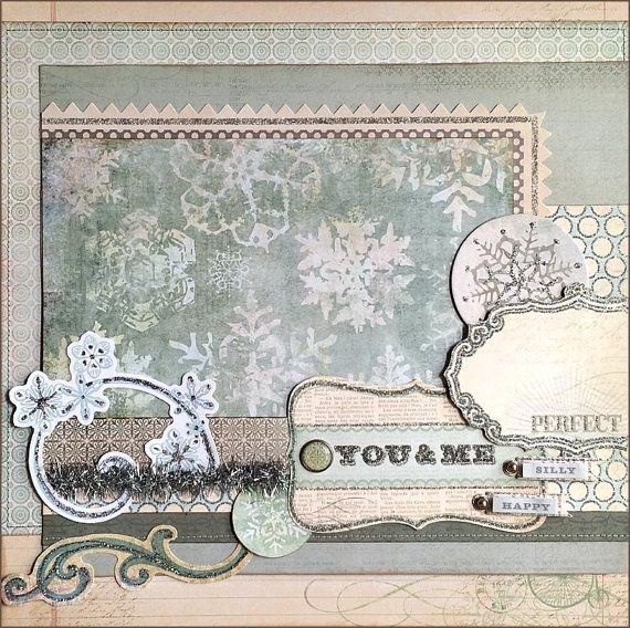 You and Me - Frozen Layout. Glittered snow swirl, papers, and title. Silver tinsel.  This 12x12 layout is perfect for photos of your daughters meeting Elsa and Anna at Disneyland or Disney World. Or for a Halloween costume, playing dress up, etc. DarinzDezinz Etsy shop by Tamara Jensen