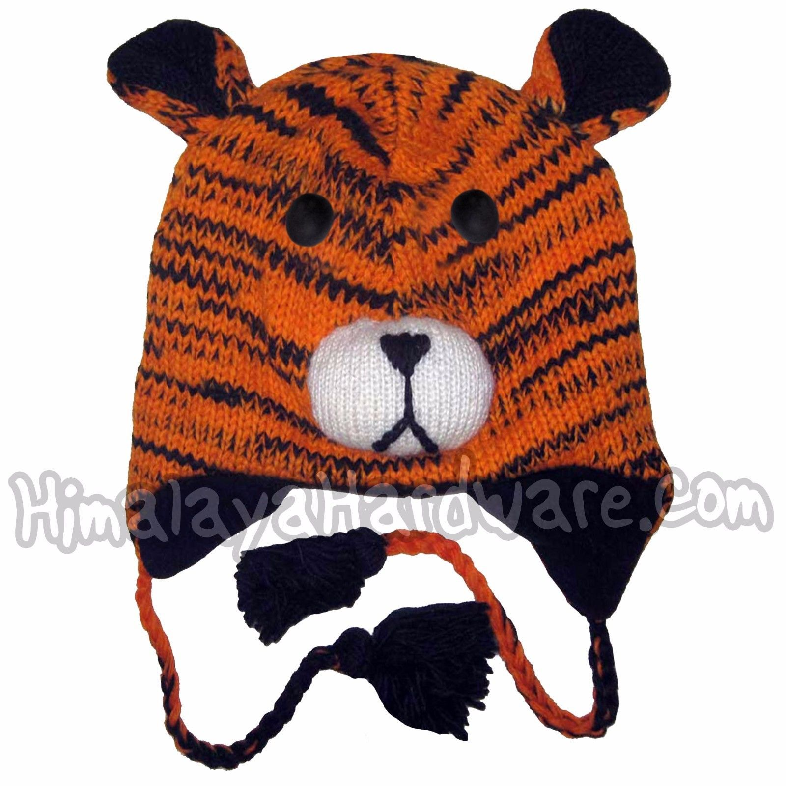 New Animal Face Hat White Black STRIPED MONKEY  Beanie Winter Ski Cap ADULT Gift