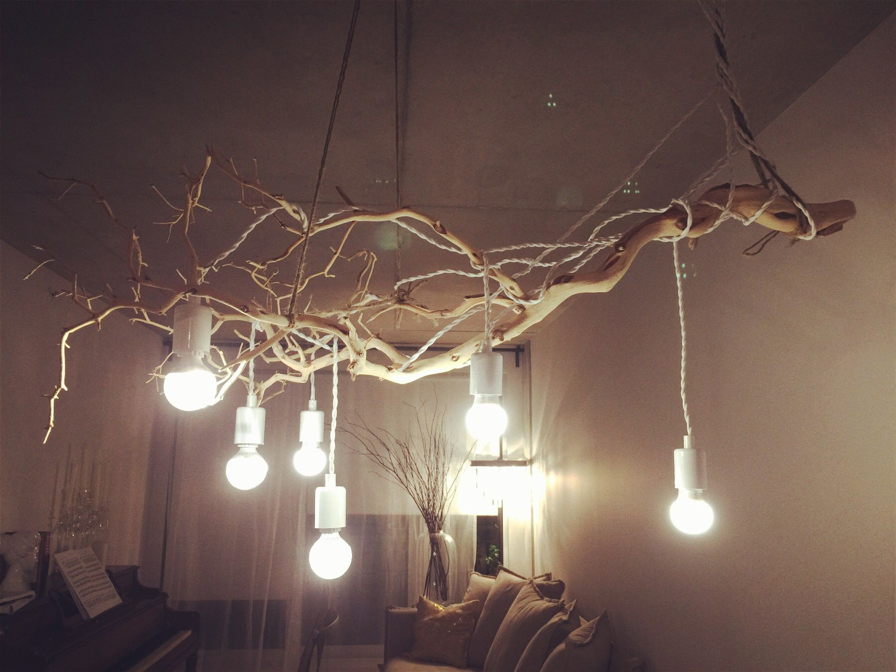 My favourite diy branch chandelier made by just branches and simple my favourite diy branch chandelier made by just branches and simple light bulbs very low aloadofball Images