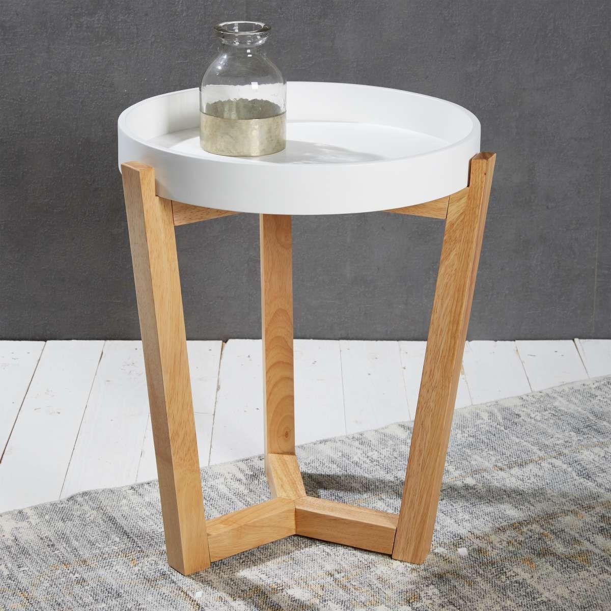 Lc Home Beistelltisch Tablett Abnehmbar 40cm Rund Holz Chic Lifestyle Weiss In 2020 Wohnzimmertisch Holz Beistelltisch Beistelltisch Holz