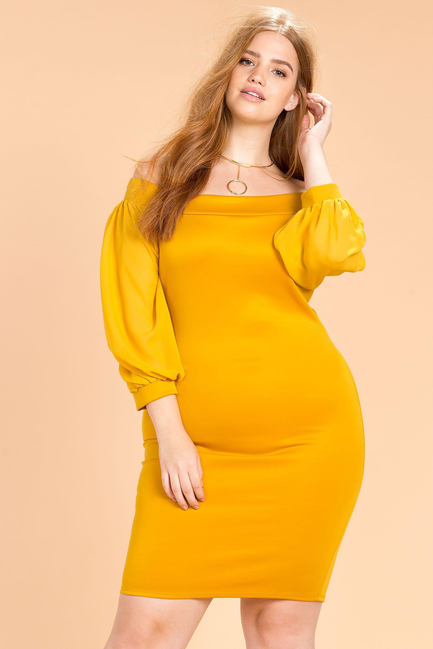 Women\'s Plus Size Column Dresses | Balloon Sleeve Off Shoulder Dress ...