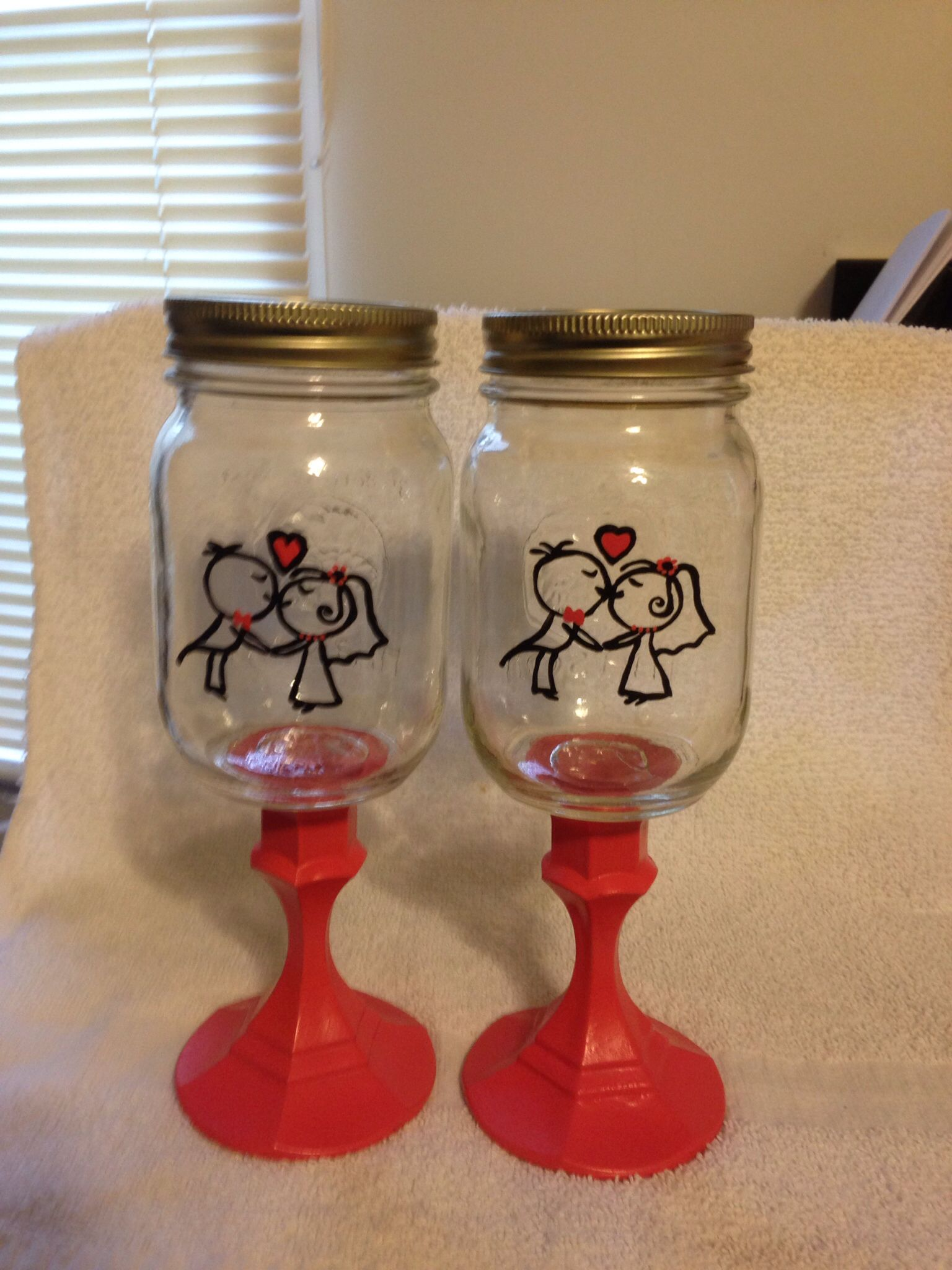 Redneck Wedding Wine Glasses, By Erikas Hand Painted Glass