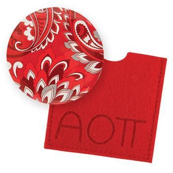 Alpha Omicron Pi Button Mirror Buy today! http://manddsororitygifts.com/products/alpha-omicron-pi-button-mirror