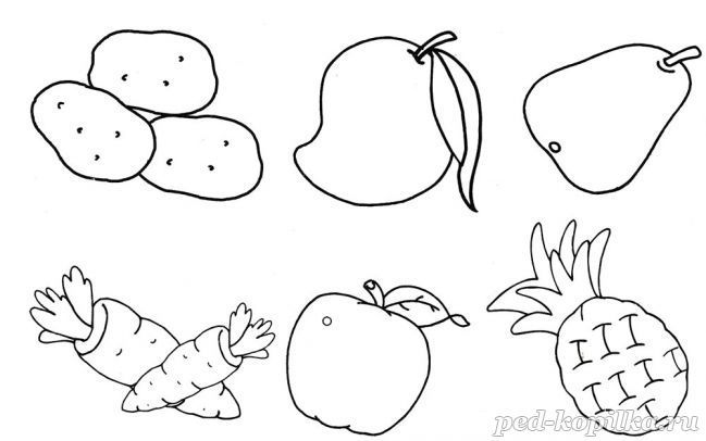 Раскраска. Фрукты и овощи | Раскраски, Фрукты и Овощи